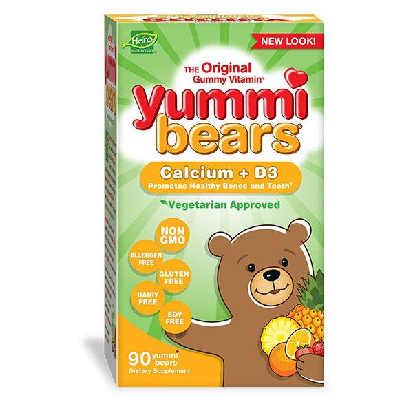 Yummi熊素食钙+维生素D3软糖儿童维生素补充剂,90颗软糖熊