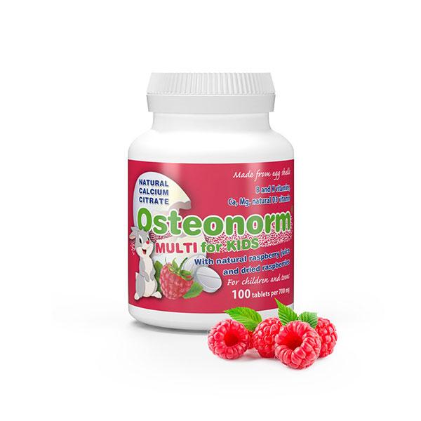 覆盆子,B2,B6,K,C和D3维生素100片儿童的天然柠檬酸钙–儿童Osteonorm Multi